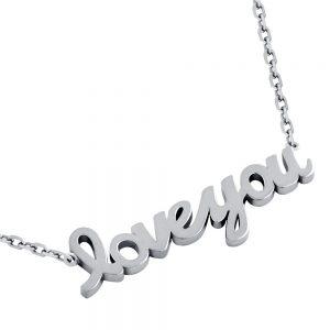colier din argint 925 placat cu rodiu - model personalizat, Love you