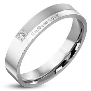 inel din inox personalizat cu mesajul endless love - metoda gravura