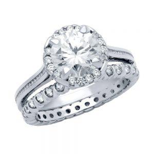Set inele argint 925 logodna. Inel rodiat cu pietre albe