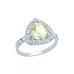 Inel logodna argint 925 cu ametist verde si topaz alb