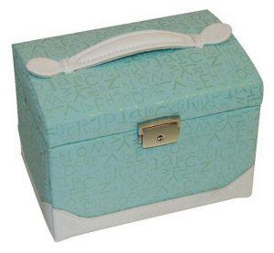 caseta de bijuterii cu aspect vintage in culoare bleu
