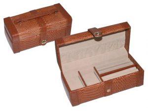 caseta de bijuterii din piele pentru voiaj, compartimentare lejera