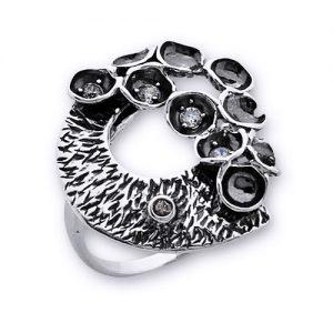 Inel de argint cu motive florale