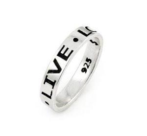 Inel de arginte cu mesajul Live Love Laugh