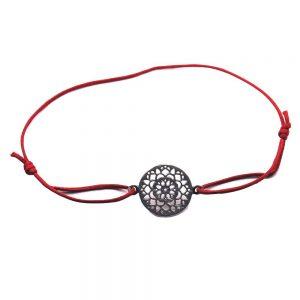 bratara din argint cu snur rosu si flare - bijuterii de dama cu semnificicatie