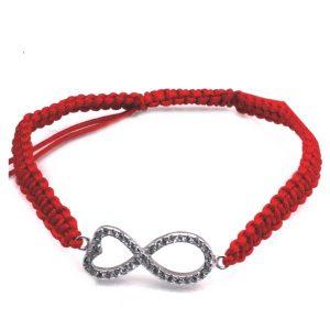 Bratara snur rosu si simbolul infinitului de argint