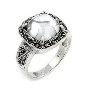 inele logodna zirconii si marcasite pe argint 925