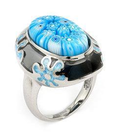 inel de argint cu sticla de murano