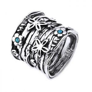 Bijuterii handmade din argint cu pietre- modele florale -