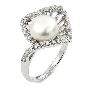 inele de logodna cu perle si zirconii - argint 925
