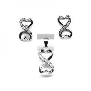 set bijuterii argint cu zirconii semnul infinitului