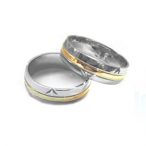Inel argint 925 rodiat cu dunga aurie - varianta ieftina in locul aurului