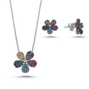 Set argint 925 rodiat cu floricele si zirconii multicolore - Be Nature_STU0003-9804-838653