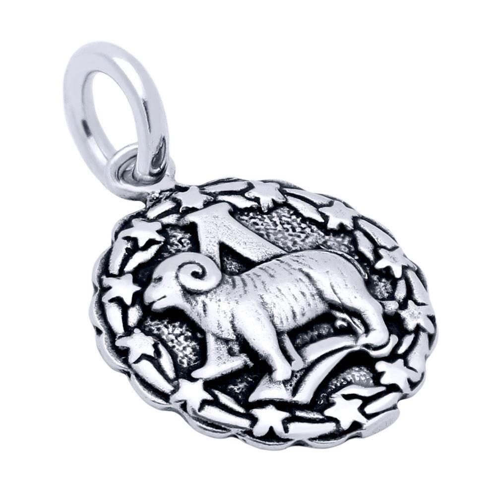 pandantiv  - medalion - talisman argint zodie - berbec si toate cele 12 zodii -